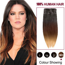 "18"" Three Colors #1b #27 And #30 Ombre Indian Remy Clip In Hair Extensions"