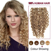 16 inches Golden Blonde (#16) 7pcs Curly Clip In Indian Remy Hair Extensions