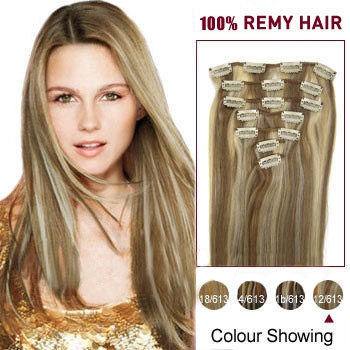 20 inches #12/613 7pcs Clip In Indian Remy Hair Extensions