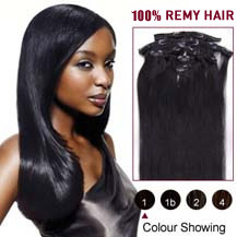 "34"" Jet Black (#1) 7pcs Clip In Indian Remy Hair Extensions"