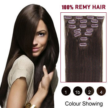 22 inches Dark Brown (#2) 9PCS Straight Clip In Brazilian Remy Hair Extensions