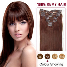 24 inches Dark Auburn (#33) 7pcs Clip In Indian Remy Hair Extensions