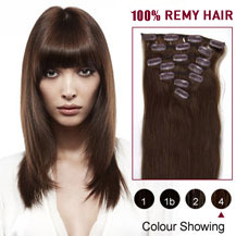28 inches Medium Brown (#4) 7pcs Clip In Indian Remy Hair Extensions