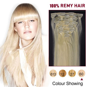 34 inches White Blonde (#60) 7pcs Clip In Indian Remy Hair Extensions
