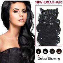 18 inches Jet Black (#1) 7pcs Wavy Clip In Indian Remy Hair Extensions