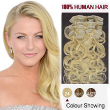 "18"" Ash Blonde (#24) 7pcs Wavy Clip In Brazilian Remy Hair Extensions"