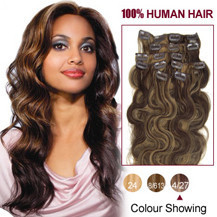 16 inches Brown/Blonde (#4_27) 7pcs Wavy Clip In Indian Remy Hair Extensions