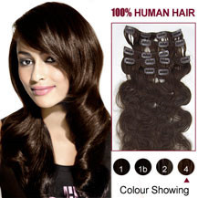 16 inches Medium Brown (#4) 7pcs Wavy Clip In Indian Remy Hair Extensions