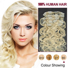 16 inches White Blonde (#60) 7pcs Wavy Clip In Indian Remy Hair Extensions