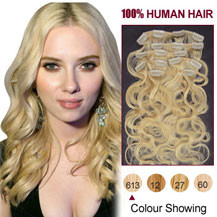 18 inches Bleach Blonde (#613) 7pcs Wavy Clip In Indian Remy Hair Extensions