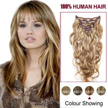 16 inches Brown Blonde (#8/613) 7pcs Wavy Clip In Indian Remy Hair Extensions