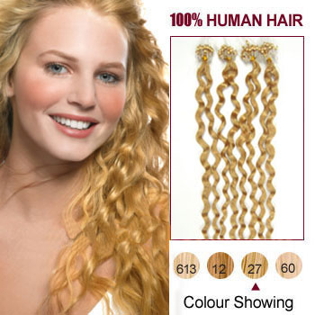 18 strawberry blonde 27 100s curly micro loop human