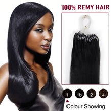 "28"" Jet Black (#1) 100S Micro Loop Human Hair Extensions"