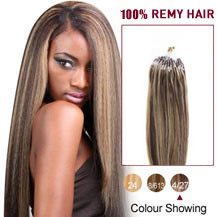 16 inches Brown Blonde1(#4/27) Micro Loop Human Hair Extensions