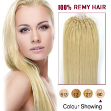 16 inches White Blonde (#60) 100S Micro Loop Human Hair Extensions