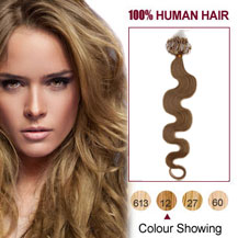 16 inches Golden Brown (#12) 100S Wavy Micro Loop Human Hair Extensions