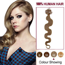 16 inches Golden Blonde (#16) 100S Wavy Micro Loop Human Hair Extensions
