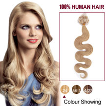 16 inches Ash Blonde (#24)100S Wavy Micro Loop Human Hair Extensions