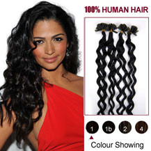16 inches Jet Black (#1) 100S Curly Nail Tip Human Hair Extensions