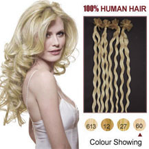 16 inches White Blonde (#60) 100S Curly Nail Tip Human Hair Extensions