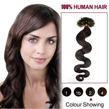 "22"" Dark Brown (#2) 100S Wavy Nail Tip Human Hair Extensions"