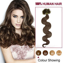 16 inches Ash Brown (#8) 100S Wavy Nail Tip Human Hair Extensions