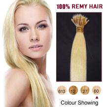 18 inches White Blonde(#60) Nano Ring Hair Extensions