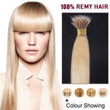 """18"""" Bleach Blonde(#613) Nano Ring Hair Extensions"""
