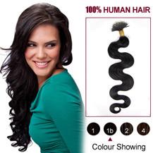 """20"""" Natural Black(#1b) Nano Ring Wavy Hair Extensions"""