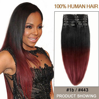 Ombre hair extensions 16 two colors 1b and 443 straight ombre 16 inches two colors 1b and 443 straight ombre indian remy clip in hair pmusecretfo Choice Image