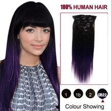 "16"" Two Colors #1b And Lila Straight Ombre Indian Remy Clip In Hair Extensions"