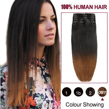 20 Quot Two Colors 2 And 10 Straight Ombre Indian Remy Clip