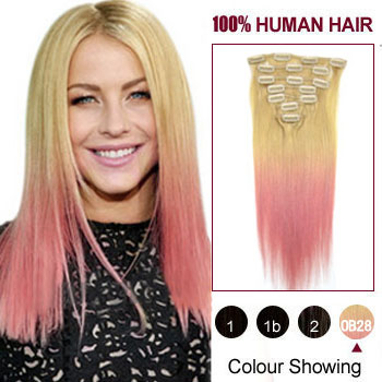 Buy 20 two colors 613 and pink straight ombre indian remy clip 20 inches two colors 613 and pink straight ombre indian remy clip in hair extensions pmusecretfo Choice Image