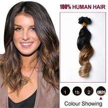 "20"" Two Colors #1 And #10 Wavy Ombre Indian Remy Clip In Hair Extensions"