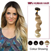 """22"""" Three Colors #2 And #12 And #613 Wavy Ombre Indian Remy Clip In Hair Extensions"""
