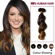 "20"" Two Colors #2 And #27 Wavy Ombre Indian Remy Clip In Hair Extensions"