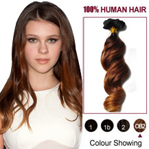 """20"""" Three Colors #2 And #30 And #27 Wavy Ombre Indian Remy Clip In Hair Extensions"""
