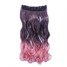 "24"" Ombre Colorful Clip in Hair Wavy 19# Black/Rosy 1 Piece"