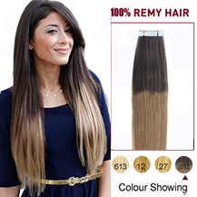 24 inches Ombre (#2/12) Tape In Human Hair Extensions