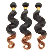 3 set bundle #1B/30 Ombre Body Wave Indian Remy Hair Wefts 12/14/16 Inches