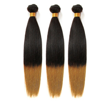 3 set bundle #1B/27 Ombre Straight Indian Remy Hair Wefts 10/12/14 Inches