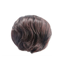 Fluffy Slightly Curled Bud Bun Deep Chestnut Brown 1 Piece