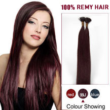 "24"" 99J 100S Stick Tip Human Hair Extensions"