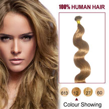 16 inches Golden Brown (#12) 50S Wavy Stick Tip Human Hair Extensions