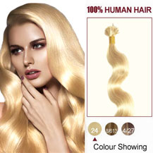 16 inches Ash Blonde (#24) 50S Wavy Stick Tip Human Hair Extensions