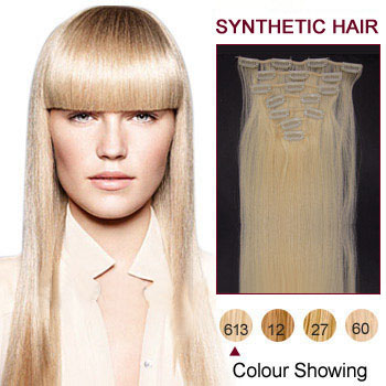 22 inches Bleach Blonde (#613) 7pcs Clip In Synthetic Hair Extensions
