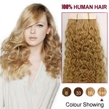 18 blonde highlight 27 613 20pcs curly tape in human hair 18 inches blonde highlight 27 613 20pcs curly tape in human hair pmusecretfo Image collections