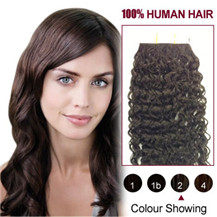 28 inches Dark Brown (#2) 20pcs Curly Tape In Human Hair Extensions