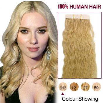 18 bleach blonde 613 20pcs curly tape in human hair extensions 18 inches bleach blonde 613 20pcs curly tape in human hair extensions pmusecretfo Choice Image