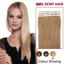 "22"" Golden Blonde (#16) 20pcs Tape In Human Hair Extensions"